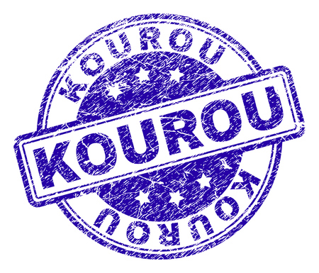 KOUROU stamp seal imprint with grunge texture. Designed with rounded rectangles and circles. Blue vector rubber print of KOUROU caption with retro texture.