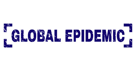 GLOBAL EPIDEMIC caption seal print with corroded texture. Text tag is placed inside corners. Blue vector rubber print of GLOBAL EPIDEMIC with retro texture.