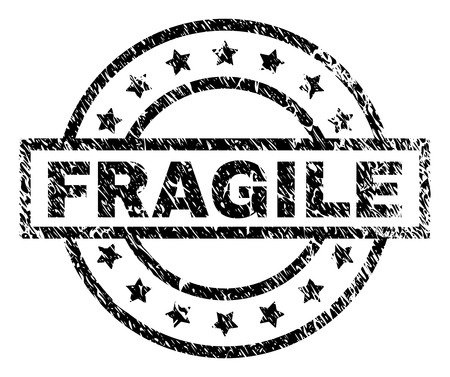 FRAGILE stamp seal watermark with distress style. Designed with rectangle, circles and stars. Black vector rubber print of FRAGILE tag with scratched texture.