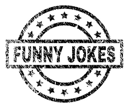 FUNNY JOKES stamp seal watermark with distress style. Designed with rectangle, circles and stars. Black vector rubber print of FUNNY JOKES tag with corroded texture.
