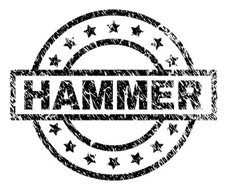 HAMMER stamp seal watermark with distress style. Designed with rectangle, circles and stars. Black vector rubber print of HAMMER text with corroded texture.