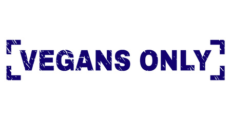 VEGANS ONLY caption seal print with corroded texture. Text caption is placed inside corners. Blue vector rubber print of VEGANS ONLY with retro texture. Иллюстрация