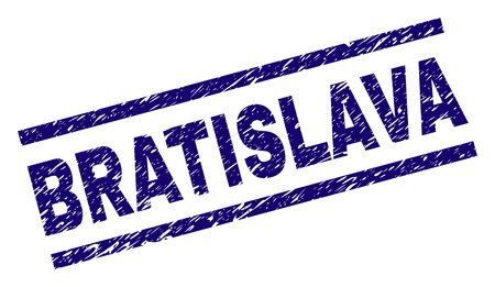 BRATISLAVA seal print with distress style. Blue vector rubber print of BRATISLAVA label with unclean texture. Text caption is placed between parallel lines.