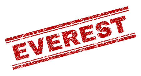 EVEREST seal stamp with distress texture. Red vector rubber print of EVEREST text with dirty texture. Text caption is placed between double parallel lines. Stock Vector - 127728328