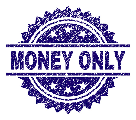 MONEY ONLY stamp seal watermark with distress style. Blue vector rubber print of MONEY ONLY text with dust texture. Illusztráció