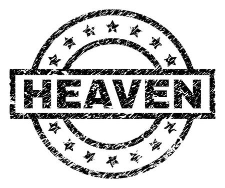 HEAVEN stamp seal watermark with distress style. Designed with rectangle, circles and stars. Black vector rubber print of HEAVEN text with retro texture. 일러스트