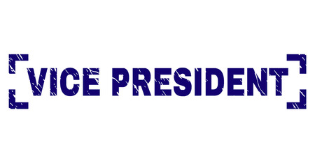 VICE PRESIDENT tag seal stamp with grunge texture. Text tag is placed inside corners. Blue vector rubber print of VICE PRESIDENT with grunge texture.