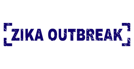 ZIKA OUTBREAK tag seal print with corroded style. Text tag is placed between corners. Blue vector rubber print of ZIKA OUTBREAK with dust texture. Ilustração