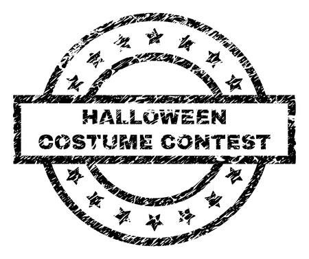 HALLOWEEN COSTUME CONTEST stamp seal watermark with distress style. Designed with rectangle, circles and stars. Black vector rubber print of HALLOWEEN COSTUME CONTEST title with corroded texture.
