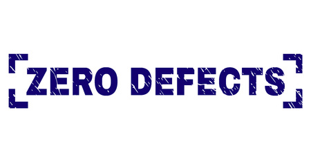 ZERO DEFECTS text seal imprint with grunge texture. Text title is placed between corners. Blue vector rubber print of ZERO DEFECTS with grunge texture.