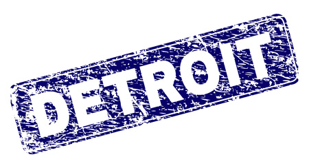 DETROIT stamp seal print with distress texture. Seal shape is a rounded rectangle with frame. Blue vector rubber print of DETROIT tag with corroded texture.