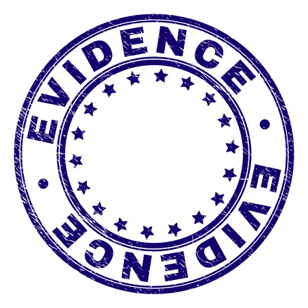 EVIDENCE stamp seal watermark with distress texture. Designed with circles and stars. Blue vector rubber print of EVIDENCE caption with dirty texture.