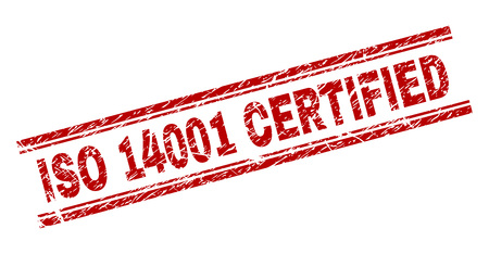 ISO 14001 CERTIFIED seal imprint with corroded effect. Red vector rubber print of ISO 14001 CERTIFIED caption with corroded texture. Text caption is placed between double parallel lines.