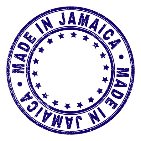 MADE IN JAMAICA stamp seal watermark with grunge texture. Designed with round shapes and stars. Blue vector rubber print of MADE IN JAMAICA text with unclean texture.