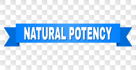 NATURAL POTENCY text on a ribbon. Designed with white caption and blue stripe. Vector banner with NATURAL POTENCY tag on a transparent background.