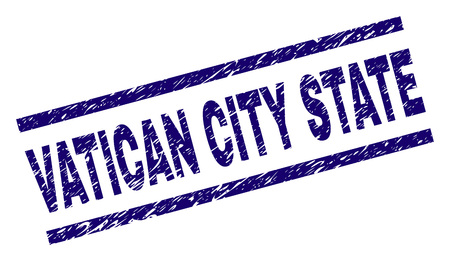 VATICAN CITY STATE seal watermark with grunge style. Blue vector rubber print of VATICAN CITY STATE label with grunge texture. Text label is placed between parallel lines.
