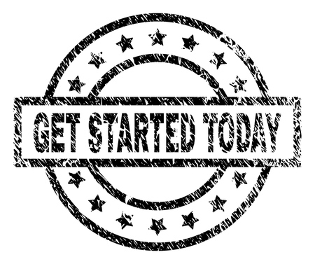 GET STARTED TODAY stamp seal watermark with distress style. Designed with rectangle, circles and stars. Black vector rubber print of GET STARTED TODAY caption with scratched texture.