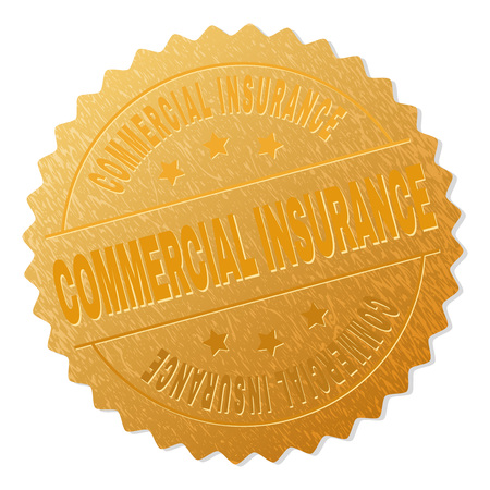 COMMERCIAL INSURANCE gold stamp badge. Vector gold award with COMMERCIAL INSURANCE text. Text labels are placed between parallel lines and on circle. Golden area has metallic texture.