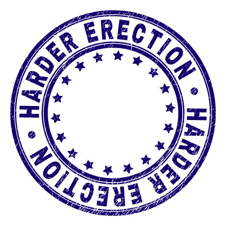 HARDER ERECTION stamp seal watermark with grunge texture. Designed with round shapes and stars. Blue vector rubber print of HARDER ERECTION caption with grunge texture.