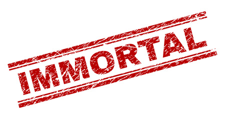 IMMORTAL seal watermark with corroded texture. Red vector rubber print of IMMORTAL title with unclean texture. Text title is placed between double parallel lines.