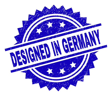 DESIGNED IN GERMANY stamp seal watermark with distress style. Blue vector rubber print of DESIGNED IN GERMANY title with corroded texture. Illustration