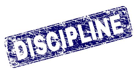 DISZIPLIN-Stempelsiegeldruck im Grunge-Stil. Siegelform ist ein abgerundetes Rechteck mit Rahmen. Blauer Vektorgummidruck der DISZIPLIN-Beschriftung mit schmutzigem Stil. Vektorgrafik