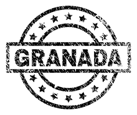 GRANADA stamp seal watermark with distress style. Designed with rectangle, circles and stars. Black vector rubber print of GRANADA tag with retro texture.