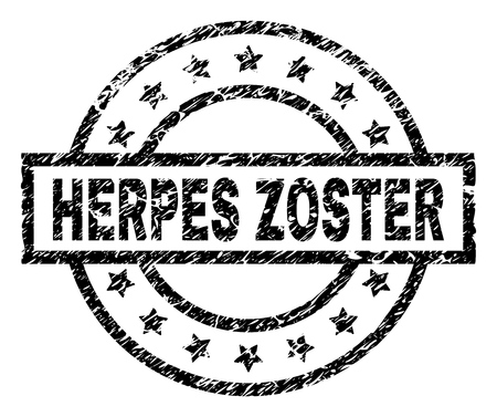 HERPES ZOSTER stamp seal watermark with distress style. Designed with rectangle, circles and stars. Black vector rubber print of HERPES ZOSTER text with dust texture.