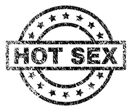 HOT SEX stamp seal watermark with distress style. Designed with rectangle, circles and stars. Black vector rubber print of HOT SEX label with scratched texture.