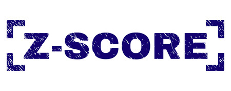 Z-SCORE caption seal print with distress texture. Text caption is placed inside corners. Blue vector rubber print of Z-SCORE with dust texture.  イラスト・ベクター素材
