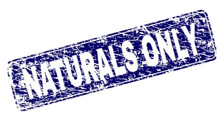 NATURALS ONLY stamp seal print with distress style. Seal shape is a rounded rectangle with frame. Blue vector rubber print of NATURALS ONLY tag with dirty style. Иллюстрация