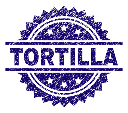 TORTILLA stamp seal watermark with distress style. Blue vector rubber print of TORTILLA label with dirty texture.