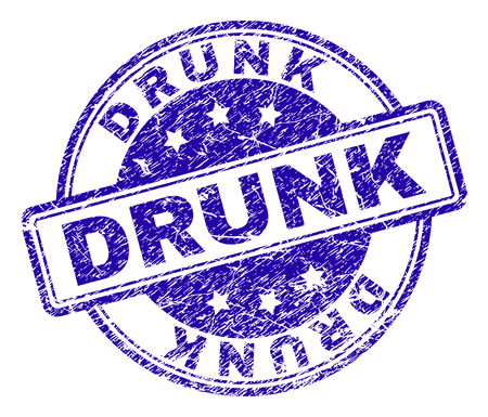 DRUNK stamp seal watermark with grunge texture. Designed with rounded rectangles and circles. Blue vector rubber print of DRUNK text with grunge texture.