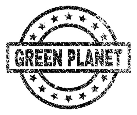 GREEN PLANET stamp seal watermark with distress style. Designed with rectangle, circles and stars. Black vector rubber print of GREEN PLANET label with corroded texture.  イラスト・ベクター素材