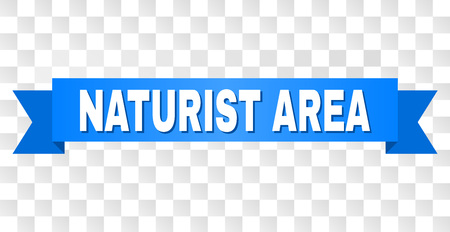NATURIST AREA text on a ribbon. Designed with white caption and blue stripe. Vector banner with NATURIST AREA tag on a transparent background. Illusztráció