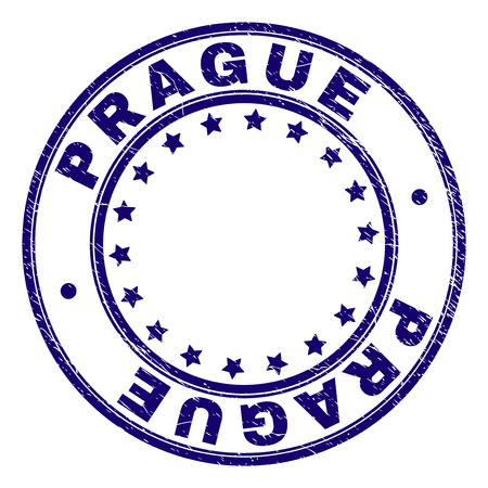 PRAGUE stamp seal watermark with grunge texture. Designed with round shapes and stars. Blue vector rubber print of PRAGUE text with unclean texture.