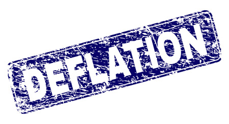 DEFLATION stamp seal watermark with grunge texture. Seal shape is a rounded rectangle with frame. Blue vector rubber print of DEFLATION title with grunge texture. Illusztráció