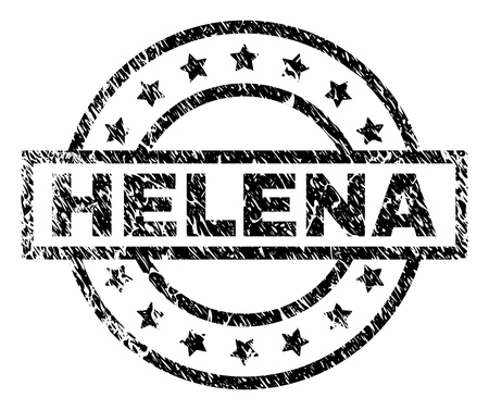 HELENA stamp seal watermark with distress style. Designed with rectangle, circles and stars. Black vector rubber print of HELENA tag with corroded texture.