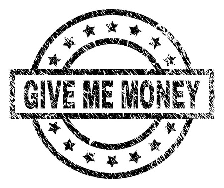 GIVE ME MONEY stamp seal watermark with distress style. Designed with rectangle, circles and stars. Black vector rubber print of GIVE ME MONEY text with corroded texture.  イラスト・ベクター素材