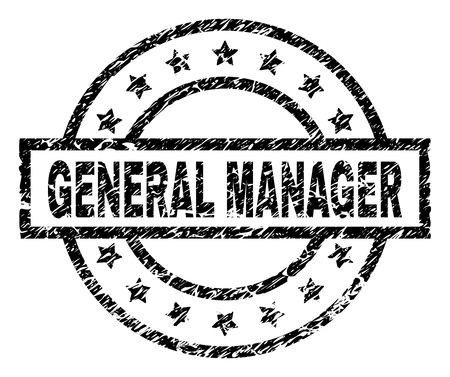 GENERAL MANAGER stamp seal watermark with distress style. Designed with rectangle, circles and stars. Black vector rubber print of GENERAL MANAGER title with corroded texture.
