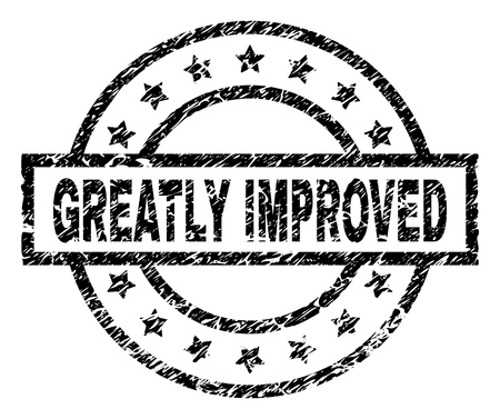 GREATLY IMPROVED stamp seal watermark with distress style. Designed with rectangle, circles and stars. Black vector rubber print of GREATLY IMPROVED title with grunge texture.