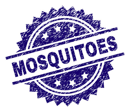 MOSQUITOES stamp seal watermark with distress style. Blue vector rubber print of MOSQUITOES caption with scratched texture. Illustration