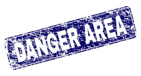 DANGER AREA stamp seal print with distress style. Seal shape is a rounded rectangle with frame. Blue vector rubber print of DANGER AREA caption with unclean style.