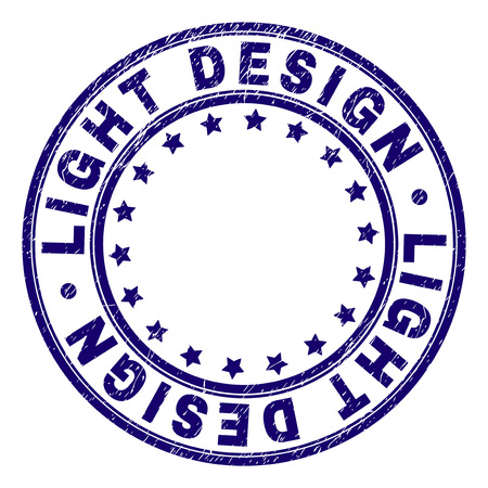 LIGHT DESIGN stamp seal watermark with distress texture. Designed with round shapes and stars. Blue vector rubber print of LIGHT DESIGN tag with retro texture.