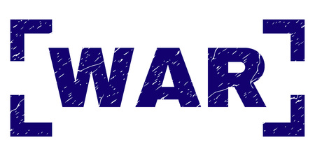 WAR title seal print with grunge effect. Text tag is placed inside corners. Blue vector rubber print of WAR with grunge texture. Illustration