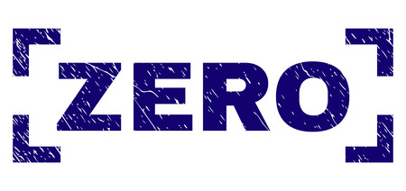 ZERO text seal imprint with grunge texture. Text title is placed inside corners. Blue vector rubber print of ZERO with grunge texture. Çizim