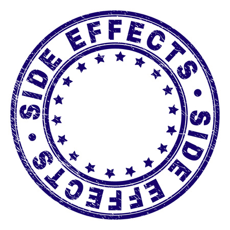 SIDE EFFECTS stamp seal watermark with grunge texture. Designed with round shapes and stars. Blue vector rubber print of SIDE EFFECTS title with scratched texture.