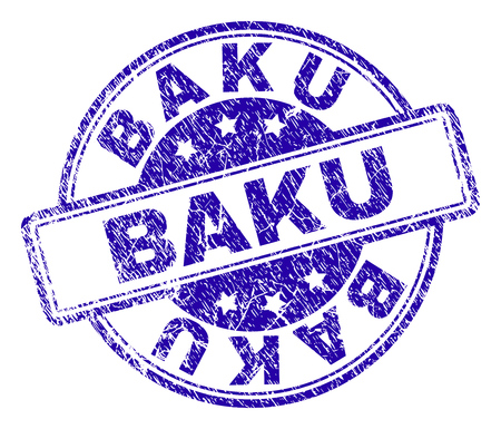 BAKU stamp seal imprint with distress texture. Designed with rounded rectangles and circles. Blue vector rubber print of BAKU title with dirty texture.