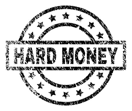 HARD MONEY stamp seal watermark with distress style. Designed with rectangle, circles and stars. Black vector rubber print of HARD MONEY caption with grunge texture.