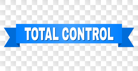 TOTAL CONTROL text on a ribbon. Designed with white caption and blue tape. Vector banner with TOTAL CONTROL tag on a transparent background.